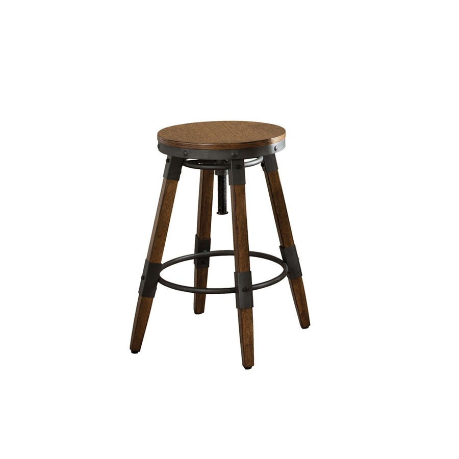 scott living set of 2 industrial weathered brown adjustable stool at