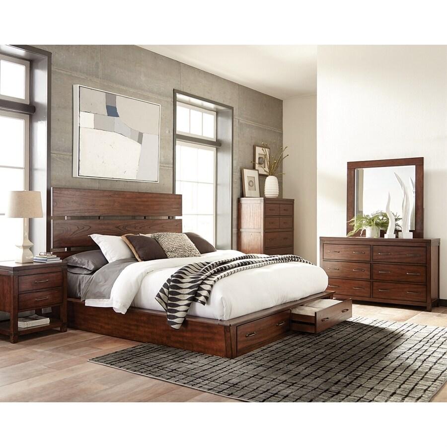 Elegant Scott Living Dark Cocoa Platform Bed With Storage