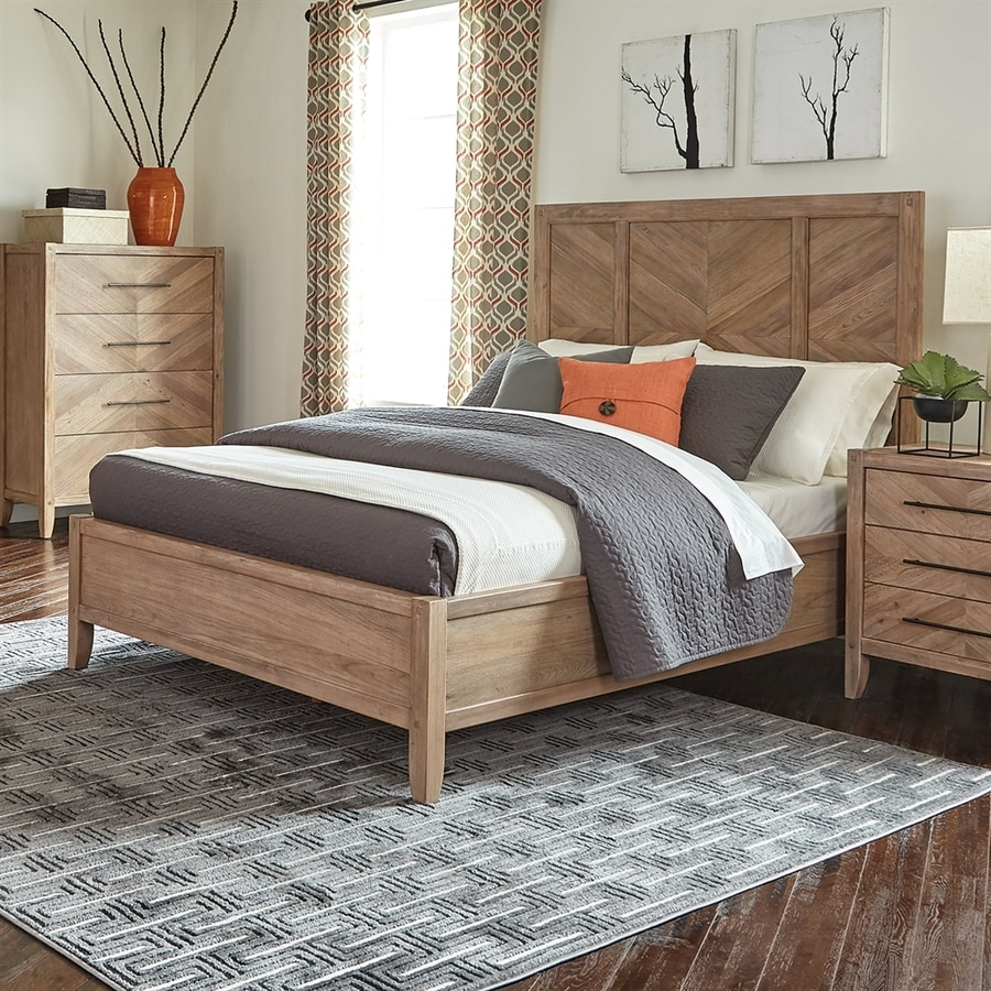 Scott Living White Washed Natural Queen Panel Bed
