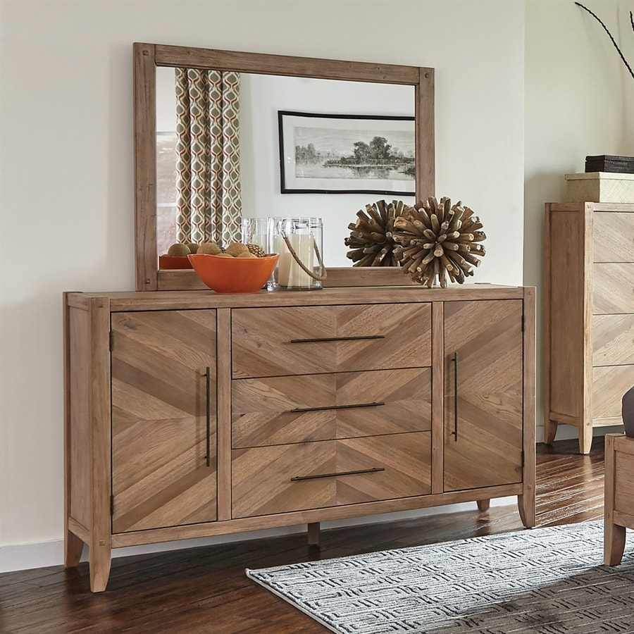 Scott Living Auburn White Washed Natural Mahogany 3-Drawer Combo Dresser