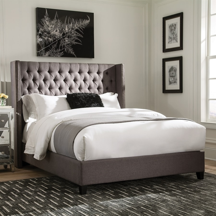 Scott Living Grey Queen Upholstered Bed At Lowes Com