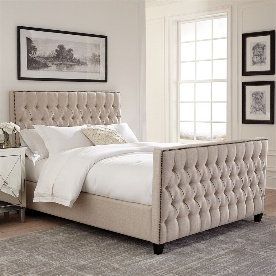 scott living oatmeal king upholstered bed