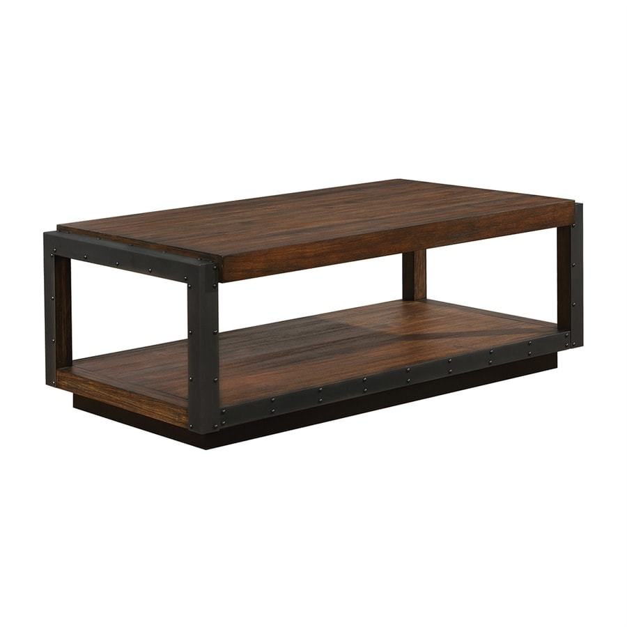 Shop scott living vintage bourbon acacia wood rectangular for Living coffee table