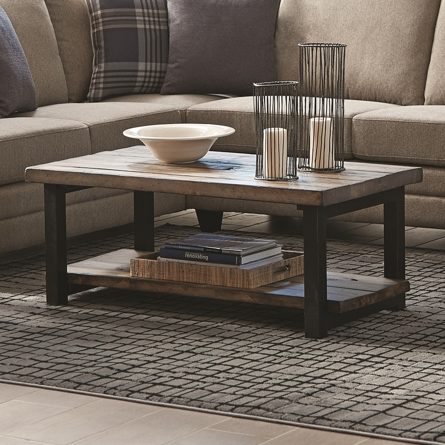 Shop scott living rustic brown pine wood rectangular coffee table at Metal living room furniture