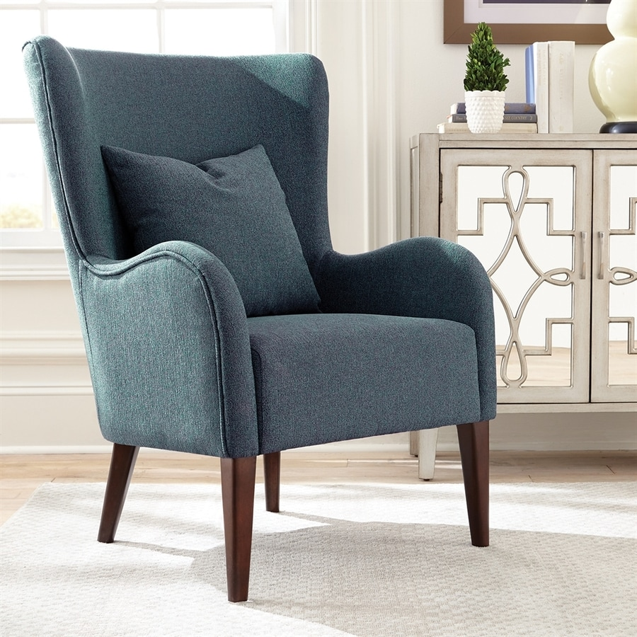 Scott Living Midcentury Dark Teal/Cappuccino Wingback Chair