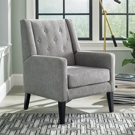 Scott Living Midcentury Taupe/Black Wingback Chair