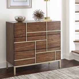 scott living warm brownbrass mahogany 3drawer accent chest - Accent Chests