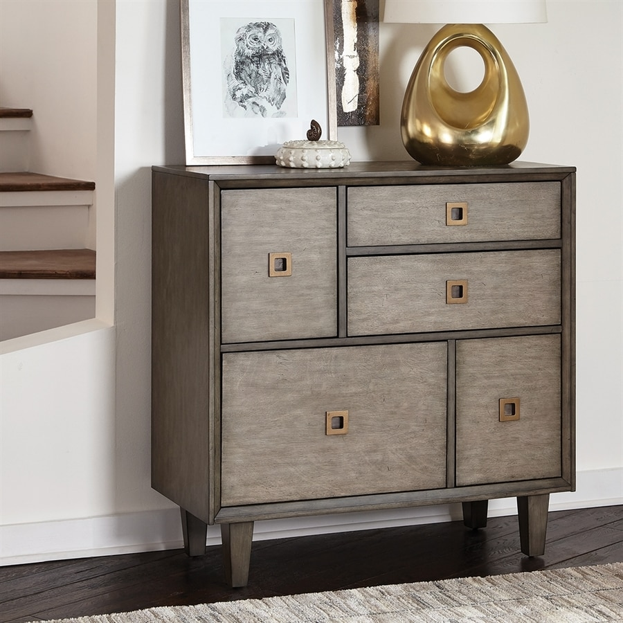 Scott Living Weathered Grey Mahogany 3-Drawer Accent Chest