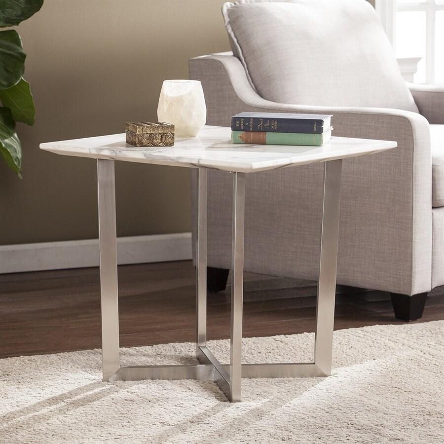 Boston Loft Furnishings Wrax Veined Simulated Ivory Marble/Brushed Nickel End Table