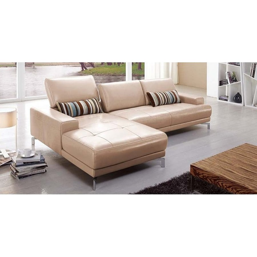Genuine Leather Sectional Sofa Canada: Beverly Hills Furniture Urban Modern Taupe Genuine Leather
