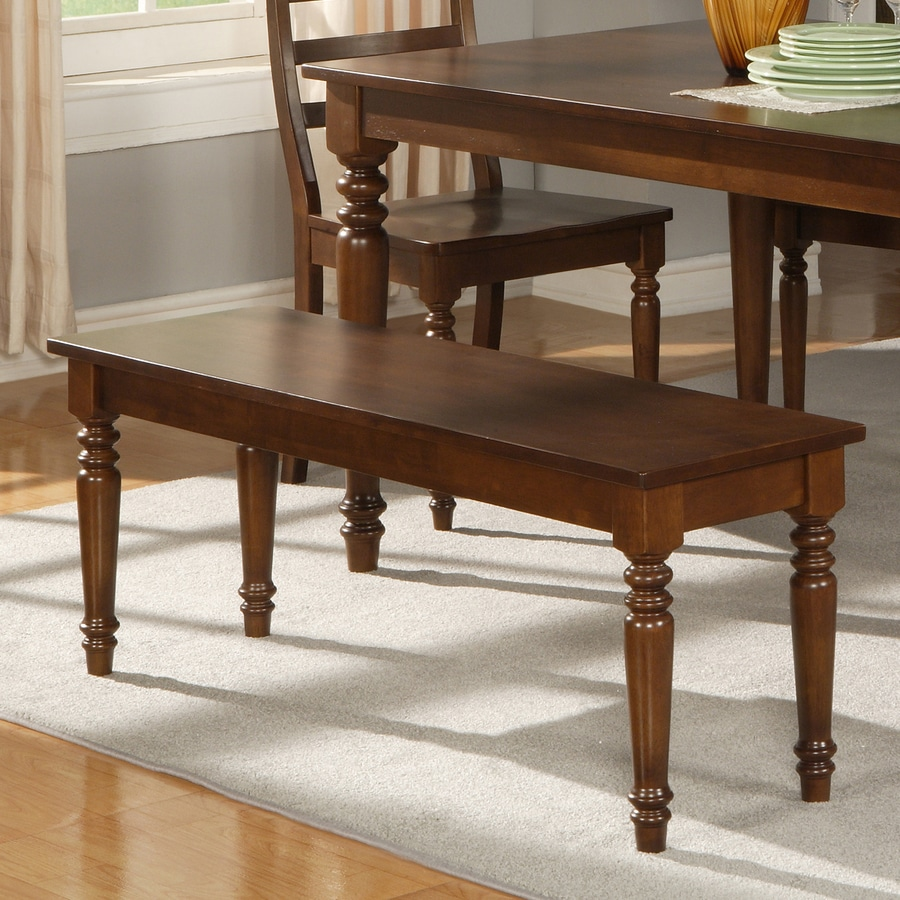 East West Furniture Dark Oak Dining Bench