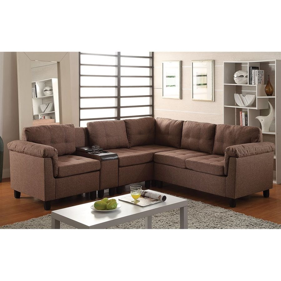 ACME Furniture Cleavon Casual Brown Linen Sectional
