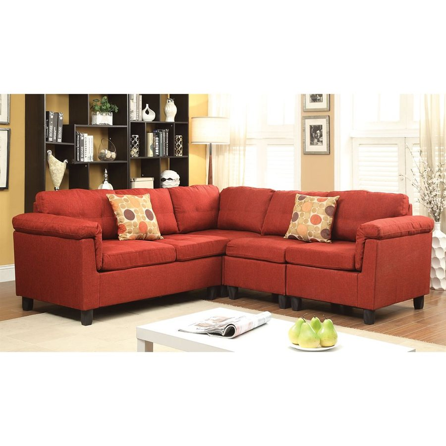 ACME Furniture Cleavon Casual Red Linen Sectional