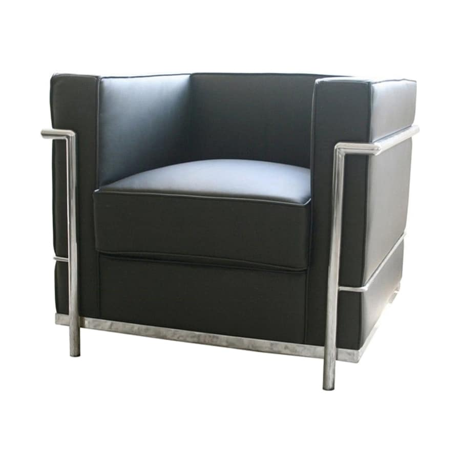 Baxton Studio Le Corbusier Petite Modern Black Leather Club Chair