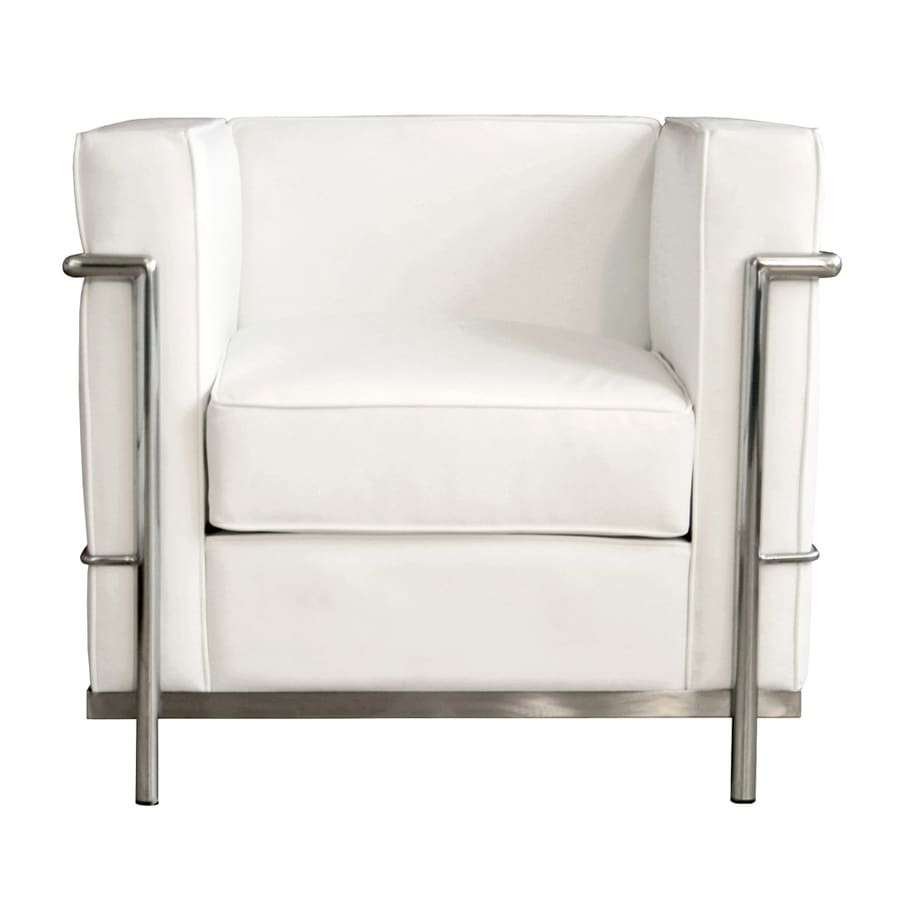 Baxton Studio Le Corbusier Petite Modern White Leather Club Chair