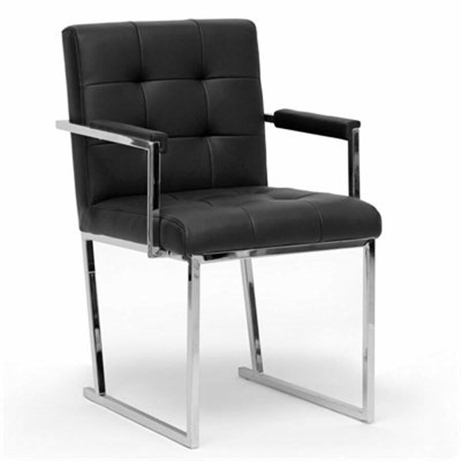 Baxton Studio Collins Midcentury Black Faux Leather Accent Chair