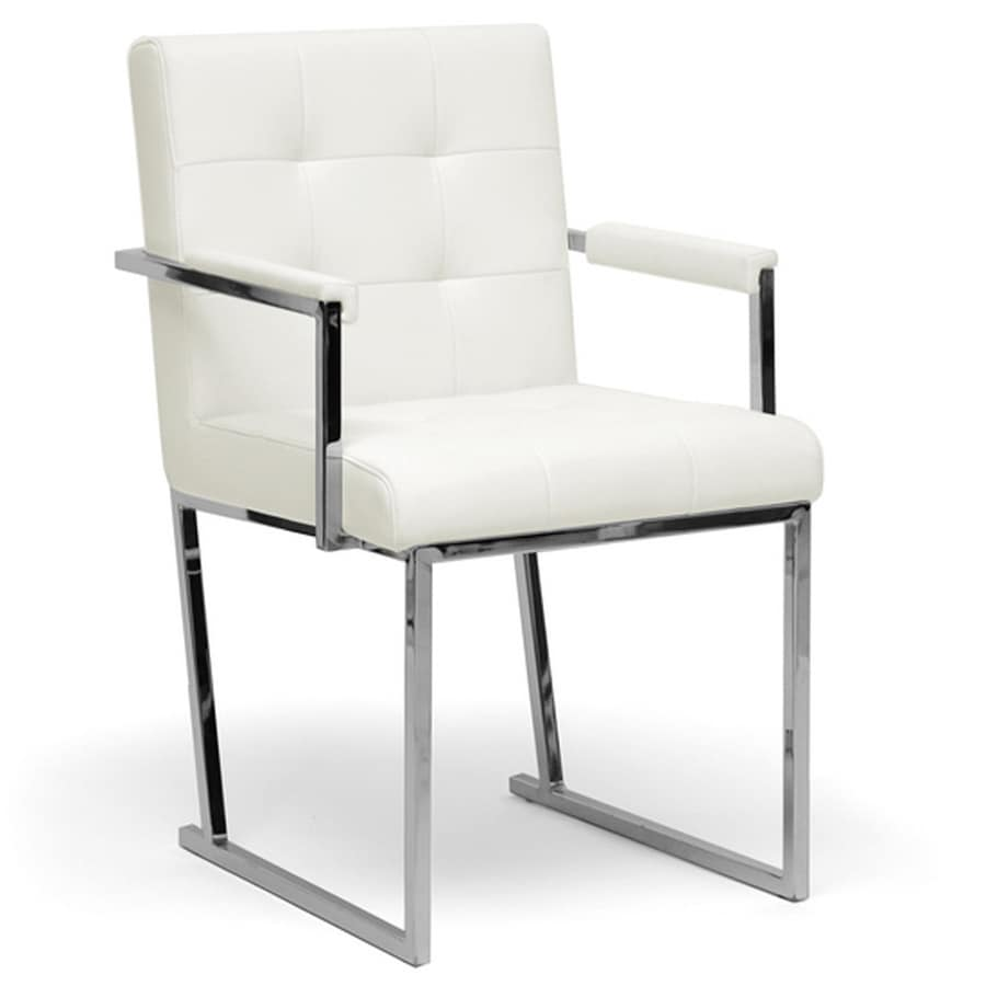 Baxton Studio Collins Midcentury Ivory Faux Leather Accent Chair