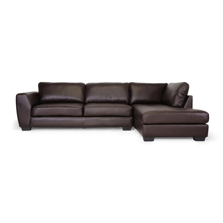 Baxton Studio Orland Casual Brown Faux Leather Sectional