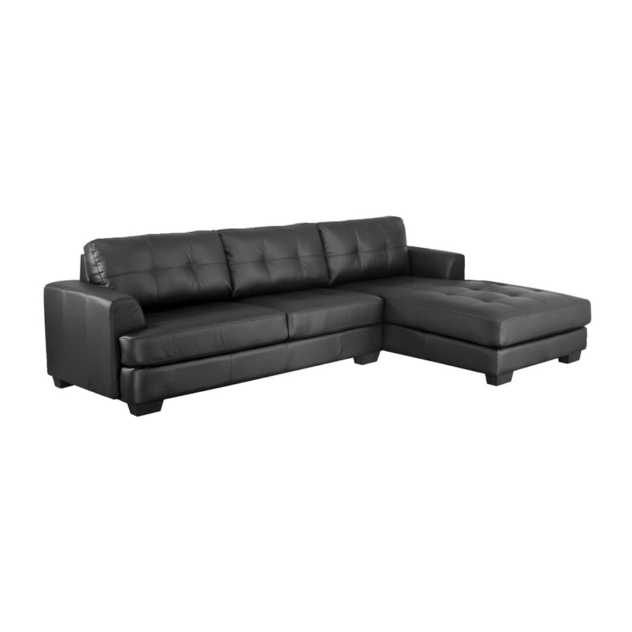Baxton Studio Dobson Casual Black Faux Leather Sectional