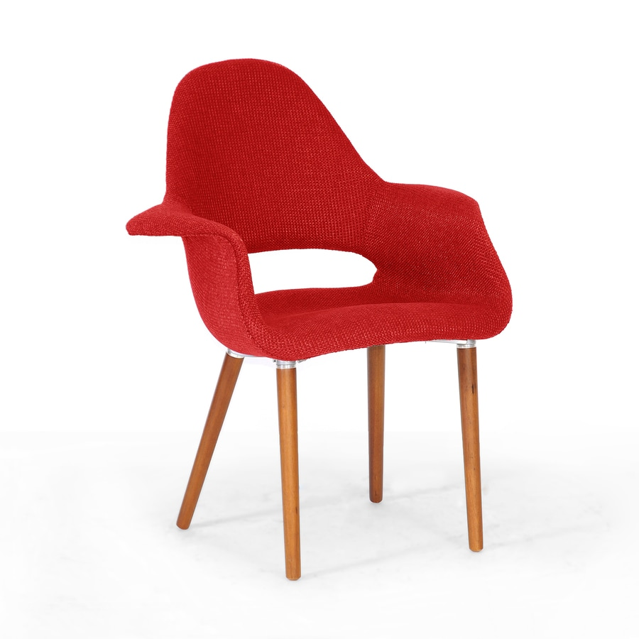 Baxton Studio Set of 2 Forza Midcentury Red Twill Accent Chairs
