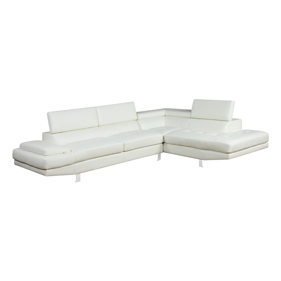 White faux leather sectional modern pieces white faux for Poundex white faux leather modern sectional sofa