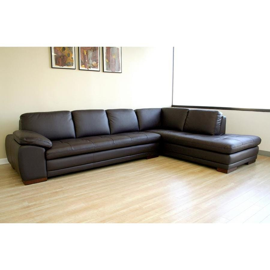 Baxton Studio Diana Casual Dark Brown Genuine Leather Sectional At