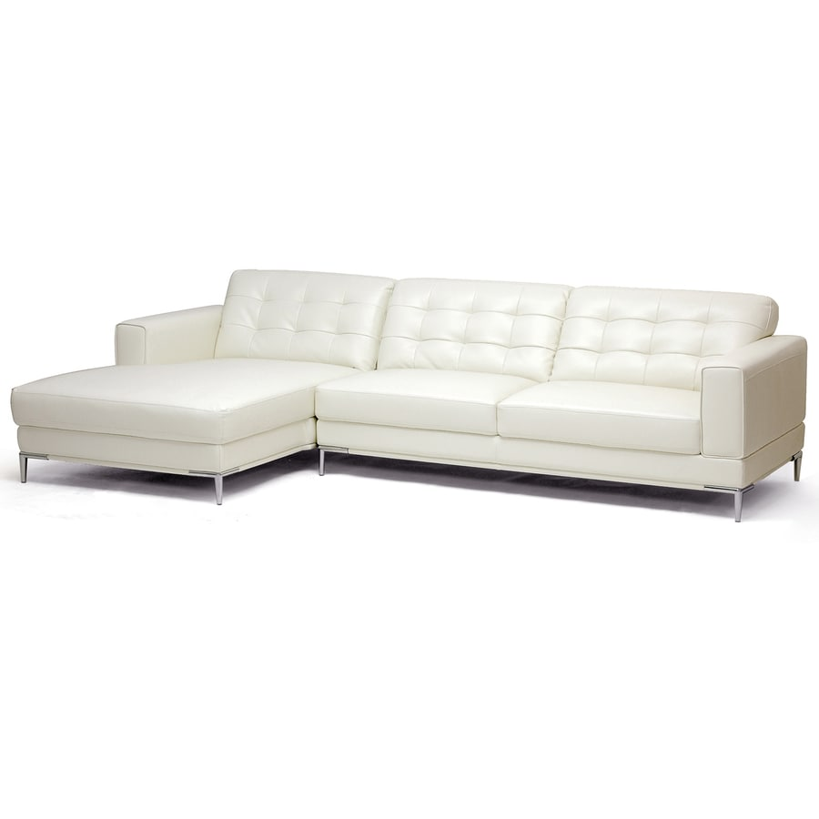 Baxton Studio Babbitt Modern Ivory Faux Leather Sectional