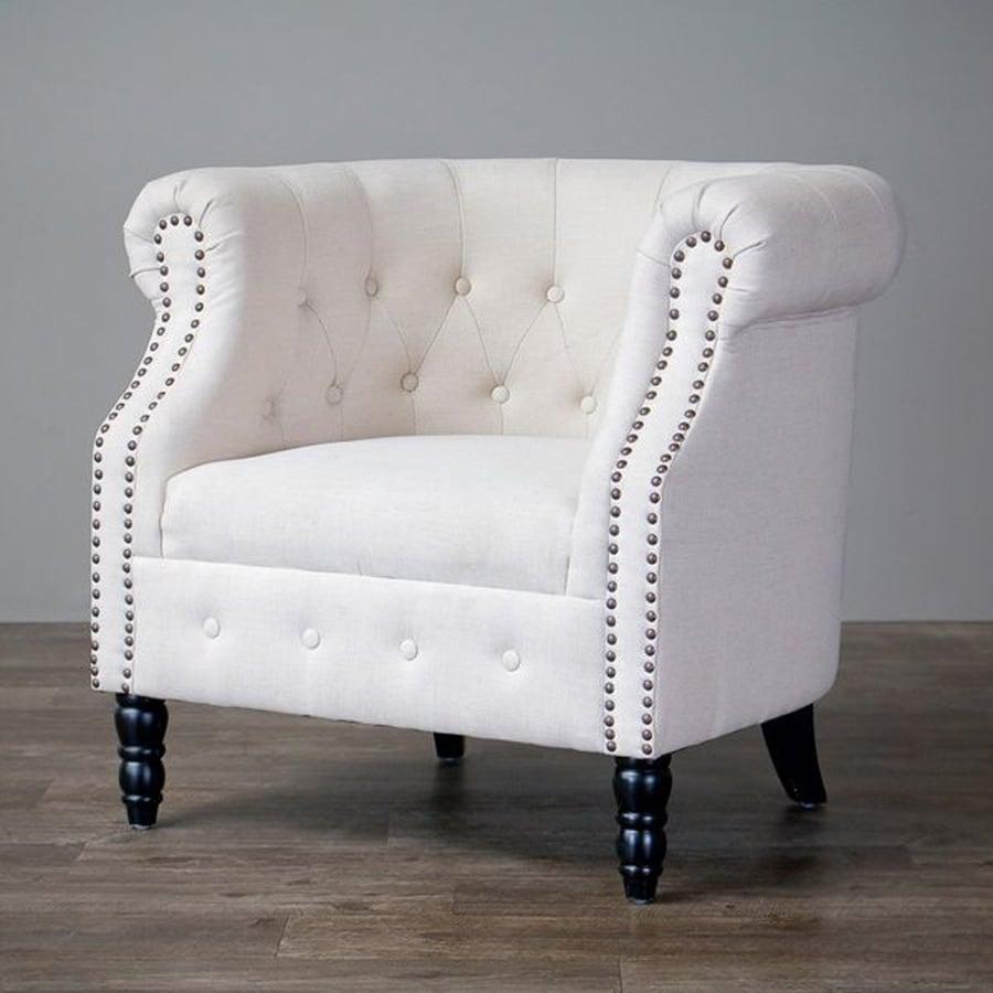 Baxton Studio Neo-Classics Casual Light Beige Linen Chesterfield Chair