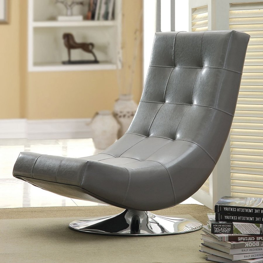 Furniture of america trinidad modern gray faux leather accent chair