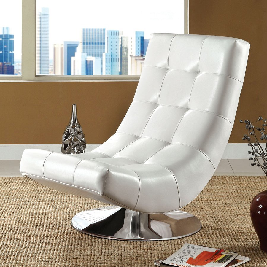 furniture of america trinidad modern white faux leather accent chair at. Black Bedroom Furniture Sets. Home Design Ideas
