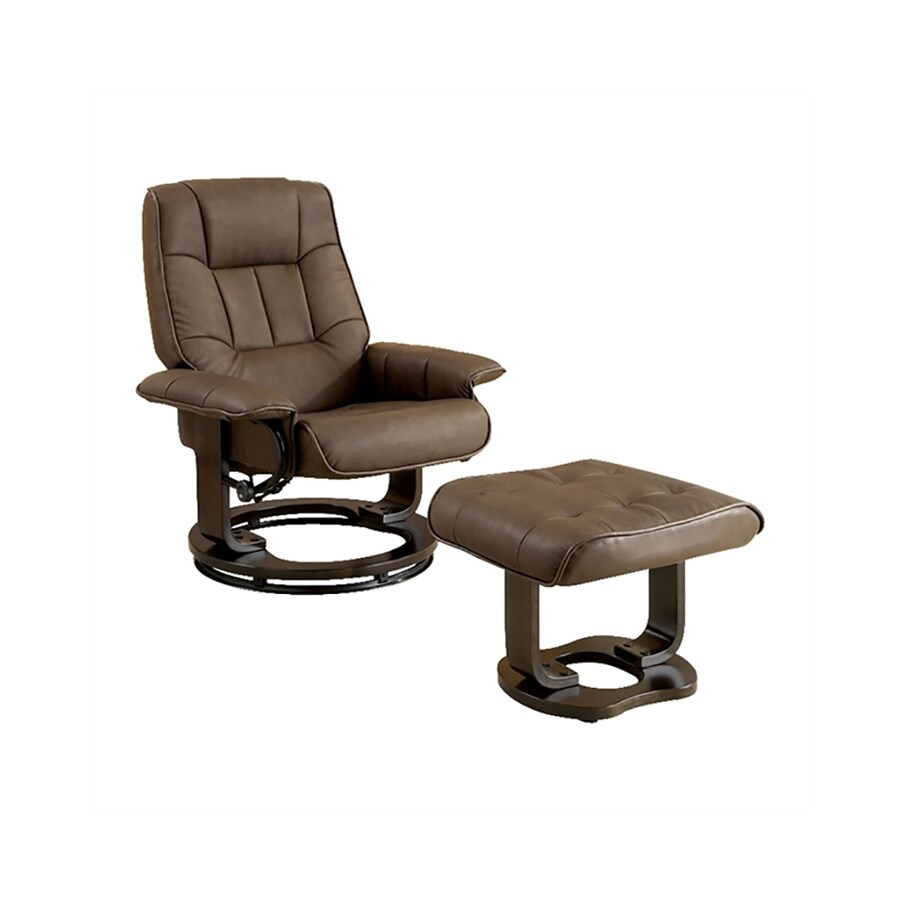Furniture of America Cheste Chocolate Faux Leather Swiveling Recliner