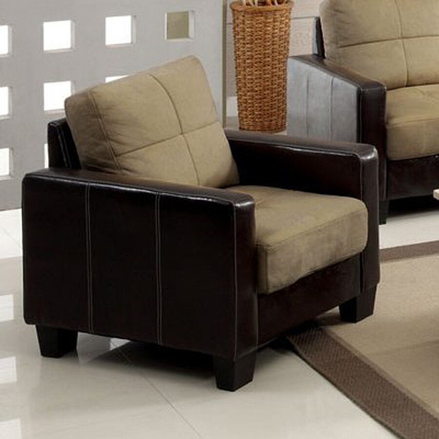Furniture of America Laverne Casual Dark Taupe/Espresso Faux Leather Club Chair