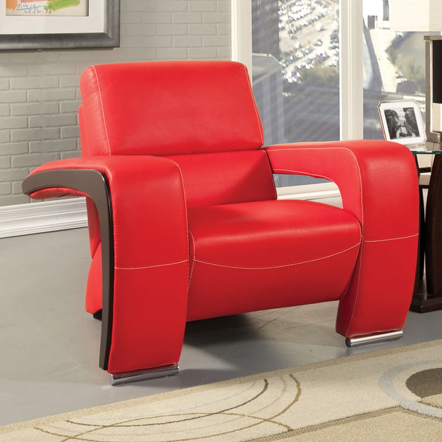 Furniture of America Enez Modern Red Faux Leather Club Chair