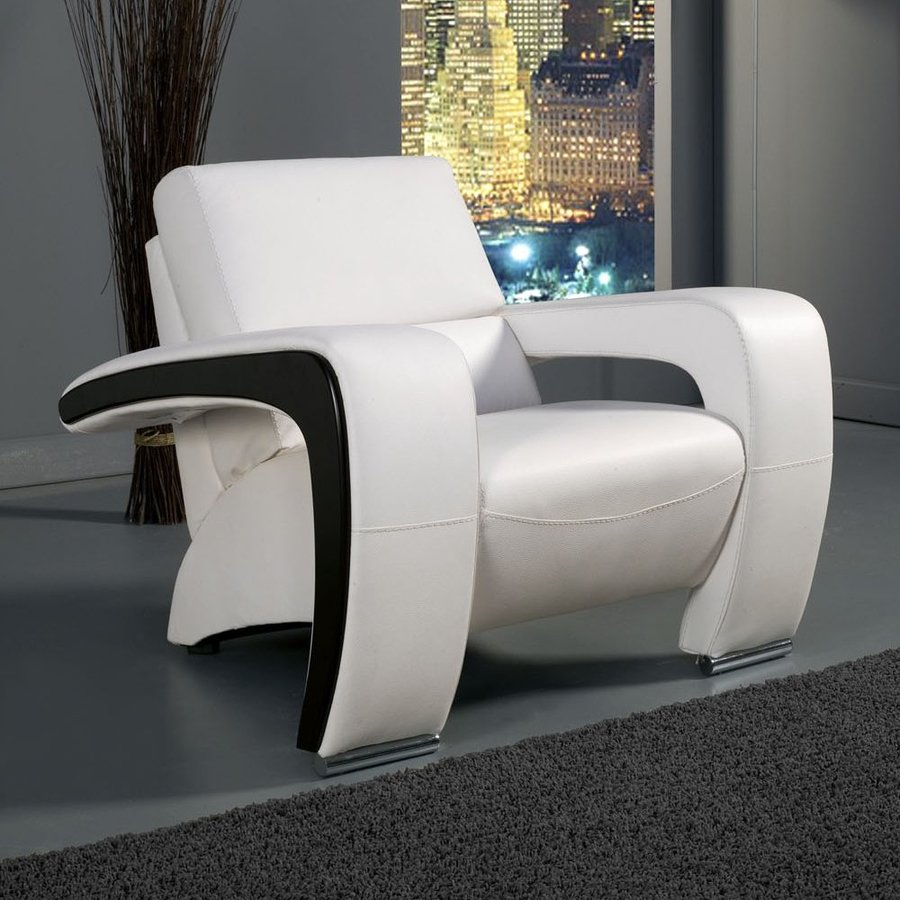 Furniture of America Enez Modern White Faux Leather Club Chair