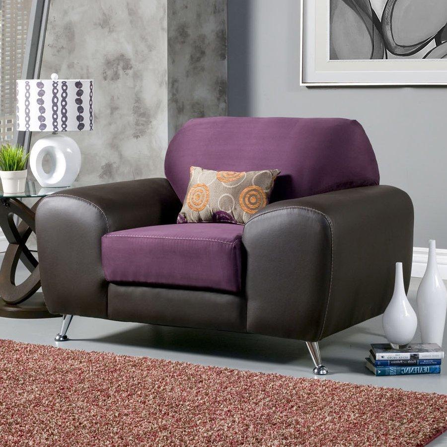 Furniture of America Avidra Modern Grape/Espresso Faux Leather Club Chair
