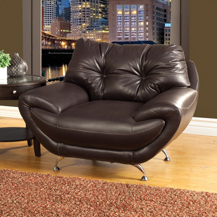 Furniture of America Volos Casual Chocolate Faux Leather Club Chair