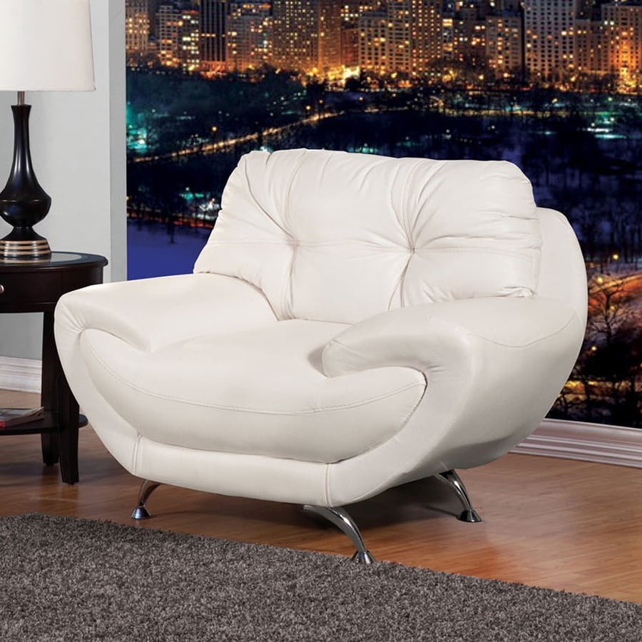 Furniture of America Volos Casual White Faux Leather Club Chair