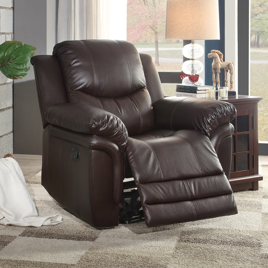 Homelegance St Louis Park Brown Faux Leather Recliner