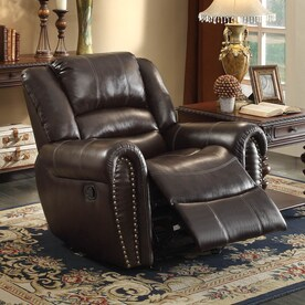 homelegance center hill brown faux leather recliner