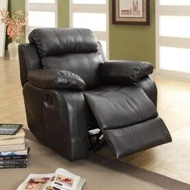 homelegance marille black faux leather recliner - Black Leather Recliner