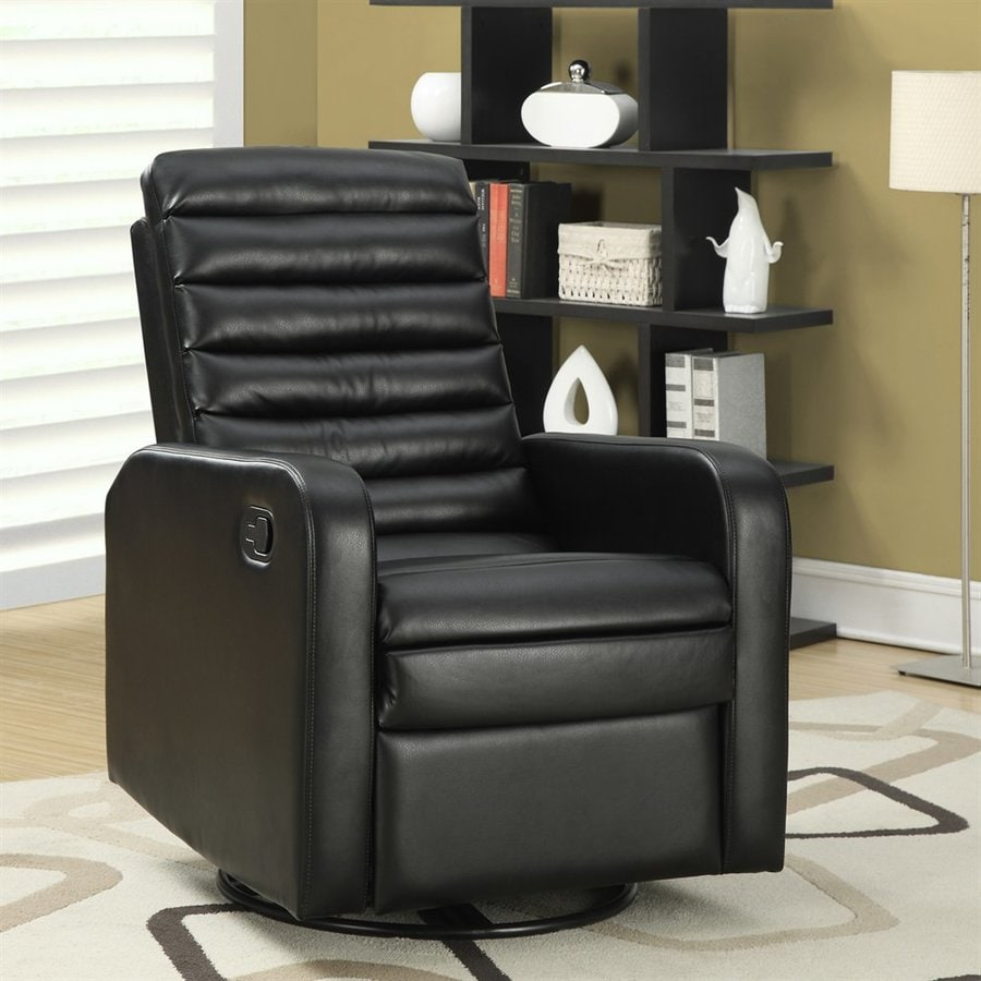 Monarch Specialties Black Faux Leather Swiveling Recliner