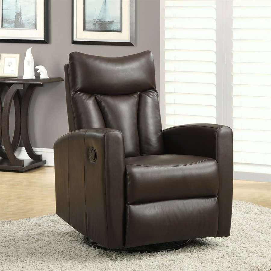 Shop Dark Brown Metal Frame Faux Leather Kitchen And: Monarch Specialties Dark Brown Faux Leather Swiveling