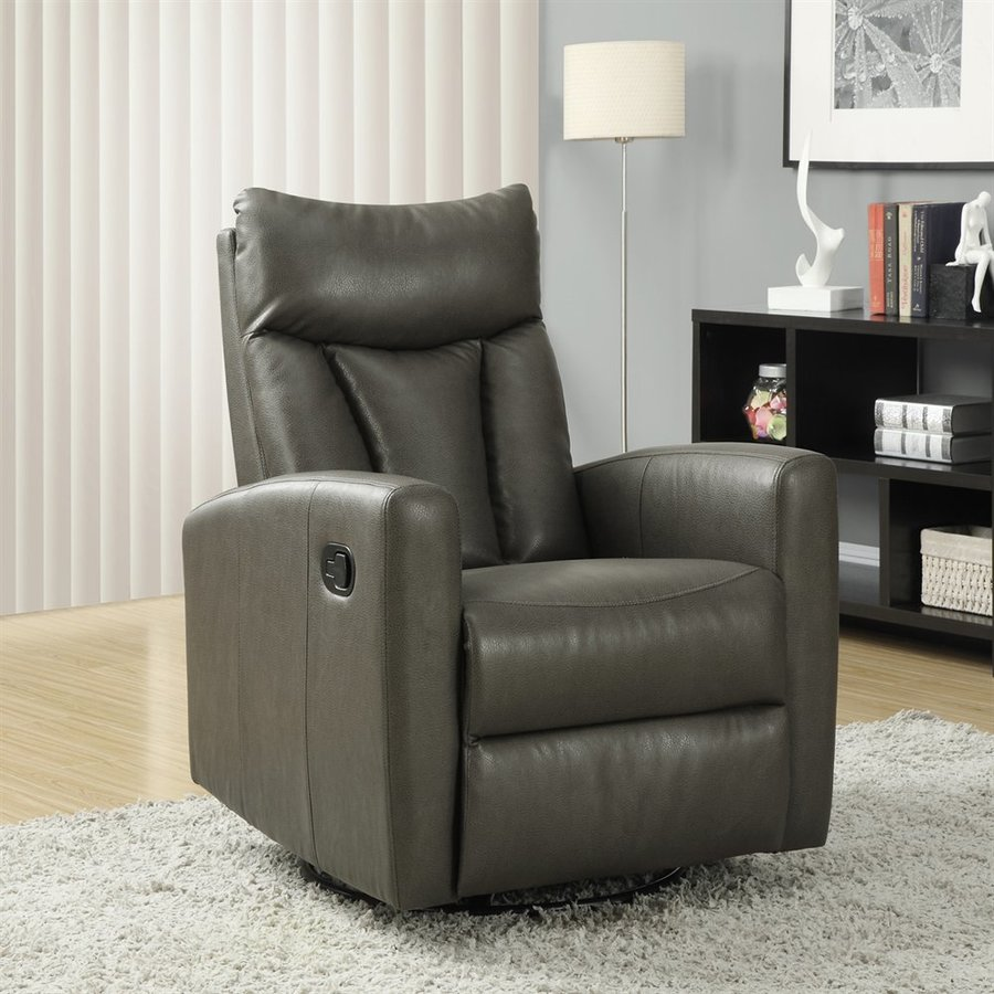 Monarch Specialties Charcoal Faux Leather Swiveling Recliner