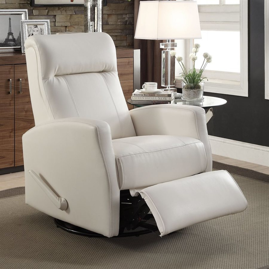 Sunset Trading Easy Living White Faux Leather Swiveling Recliner