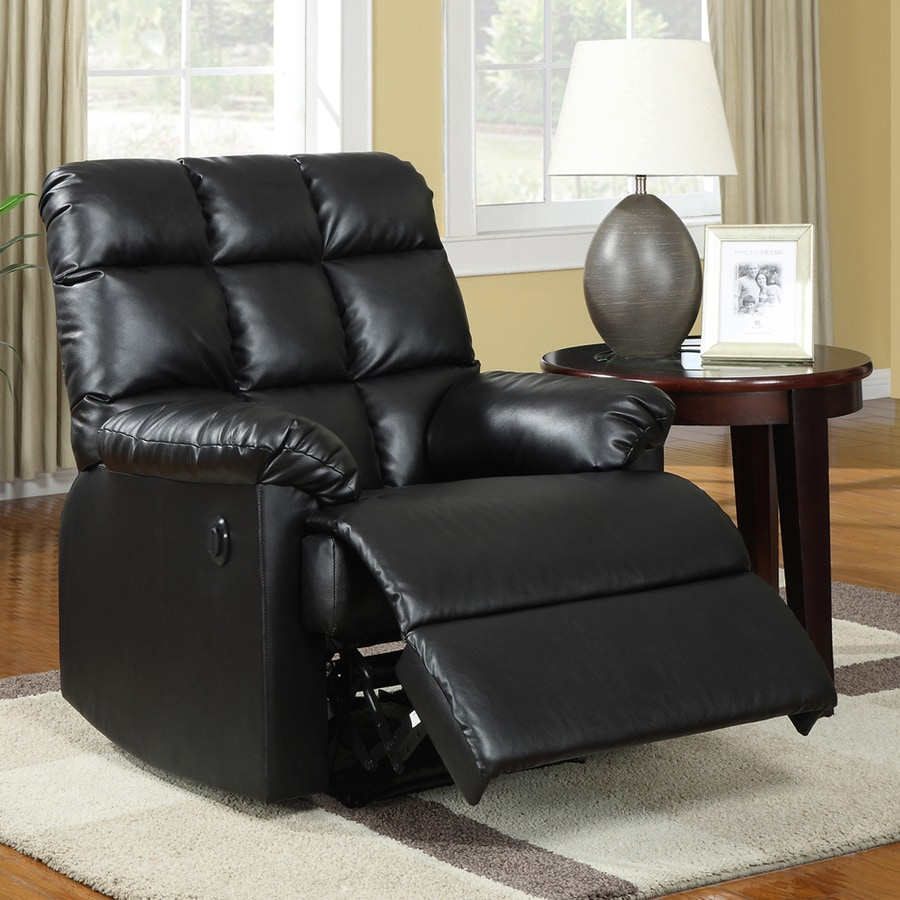 Sunset Trading Comfort Haven Black Faux Leather Recliner