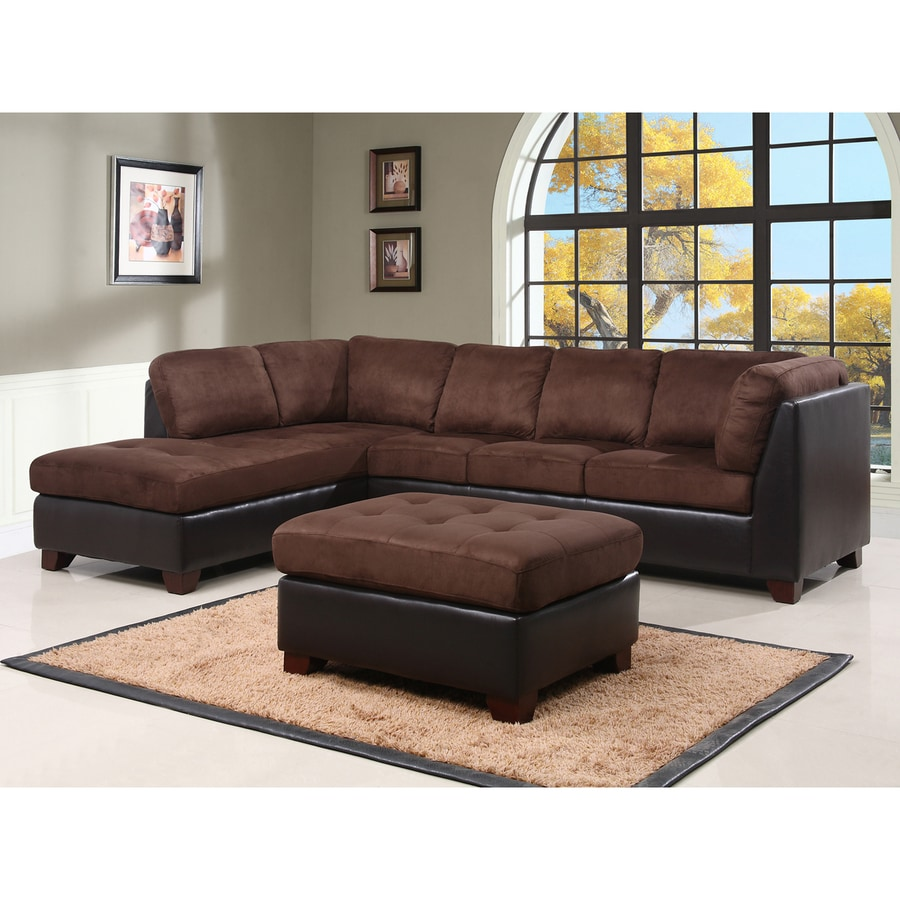 Pacific Loft Channa Casual Dark truffle Faux Leather Sectional