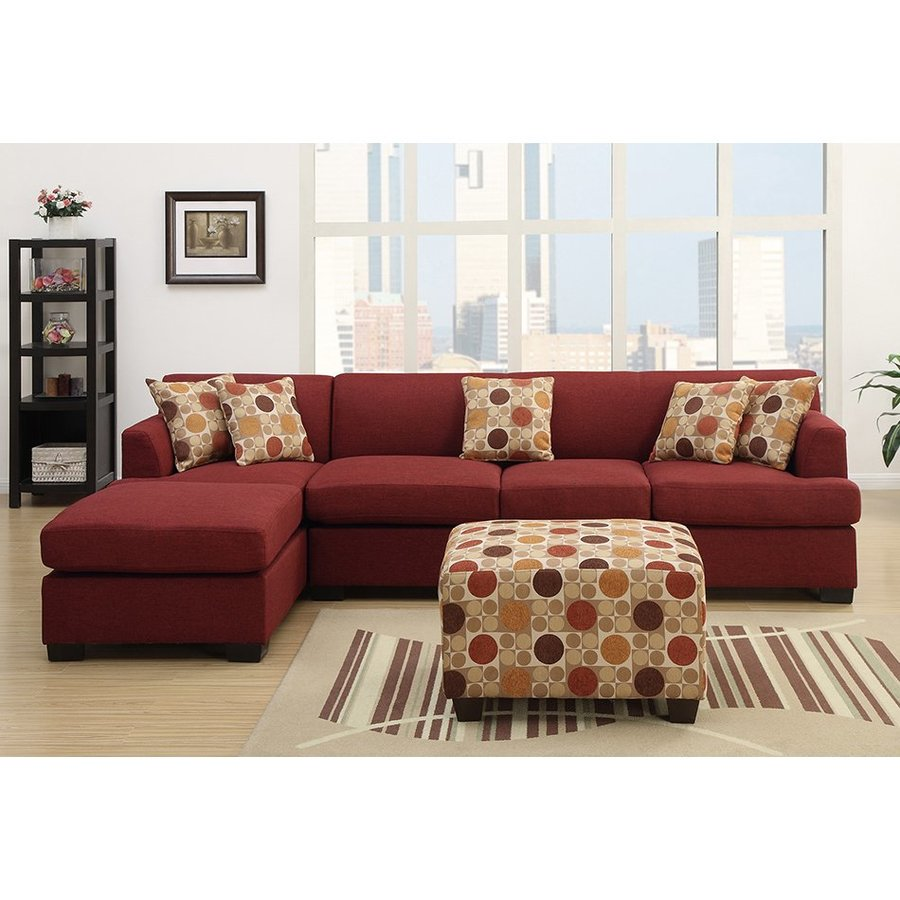 Poundex Bobkona Casual Dark Red Linen Sectional
