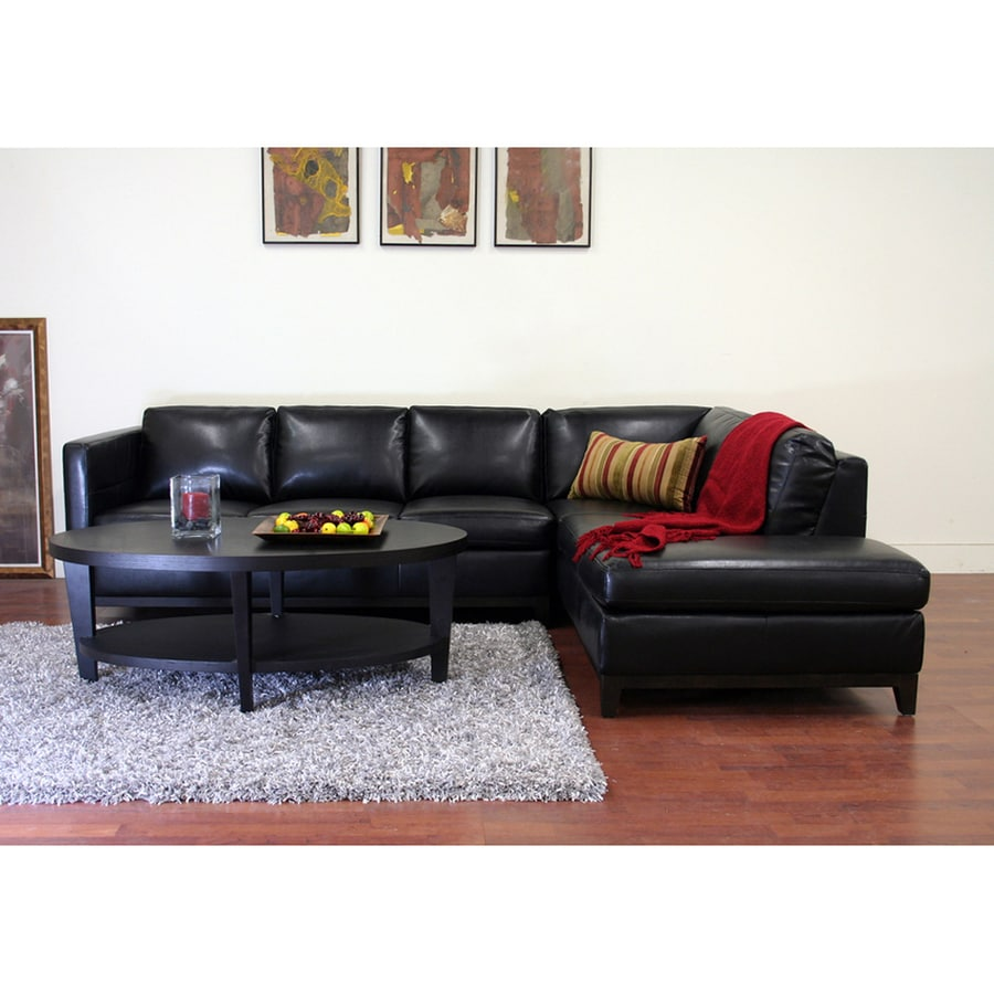 Baxton Studio Rohn Casual Black Faux Leather Sectional