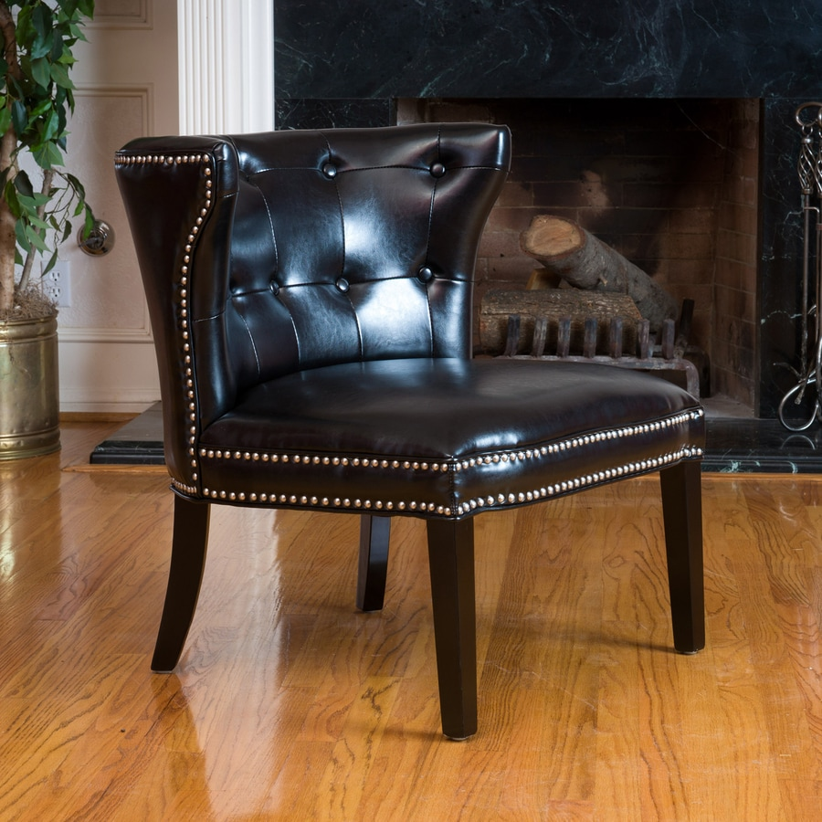 Best Selling Home Decor Bridget Casual Black Faux Leather Accent Chair