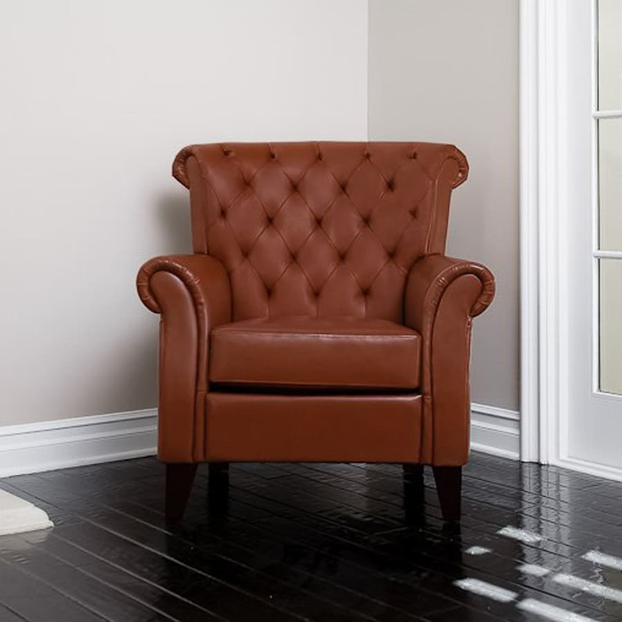 Best Selling Home Decor Franklin Casual Hazelnut Faux Leather Chesterfield Chair